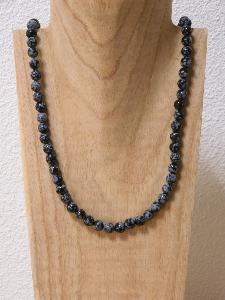 Collier Obsidienne Neigeuse (8 mm)